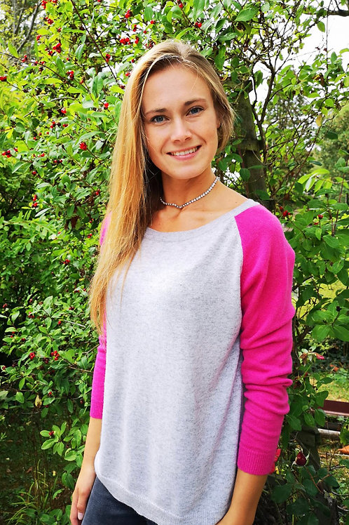 Dixie Cashmere Mix Sweater, Hot Pink / Grey