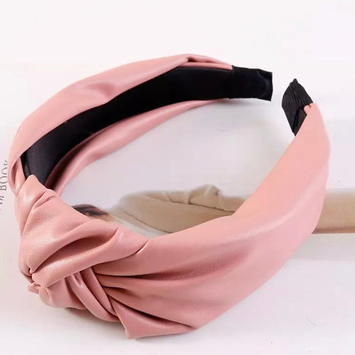 Faux Leather Headband / Dusty Pink