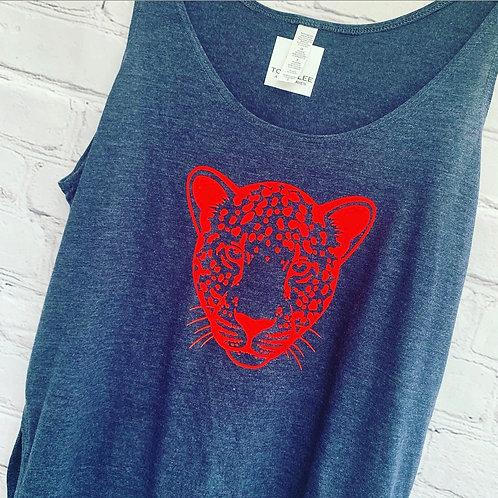 Leopard Vest Top / Blue Denim