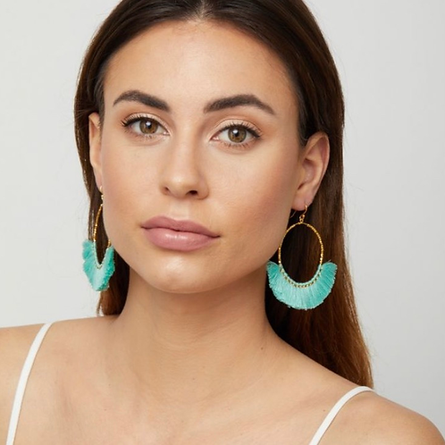 Aquata Fringe Earrings, Aqua