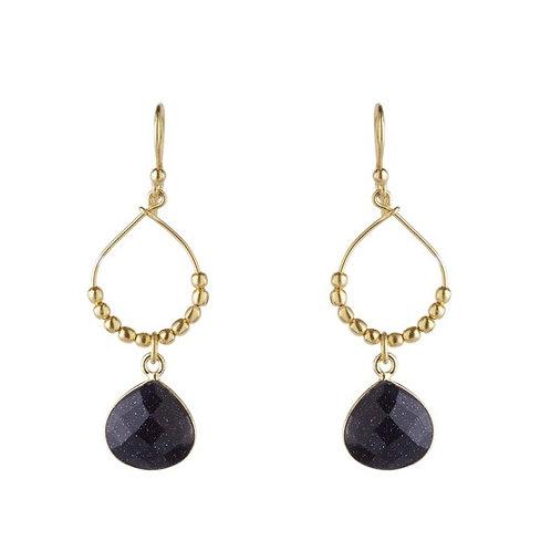 Raffia Earrings, Black Onyx