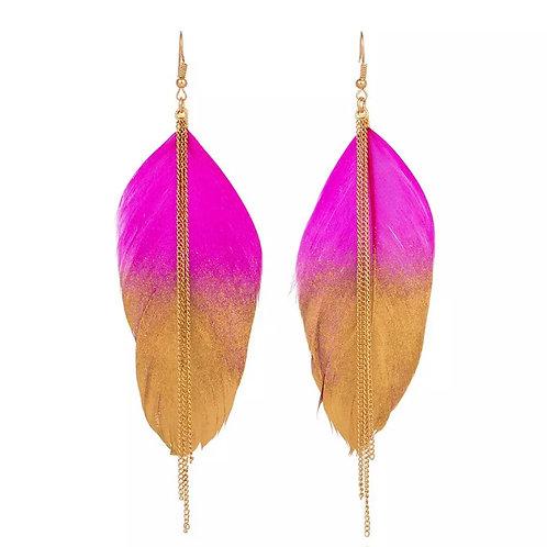 Peacock Earrings / Pink