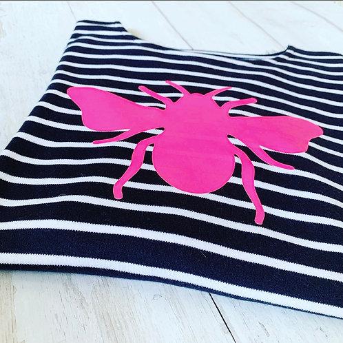 Breton Bee Longsleeve Tee / Neon Pink