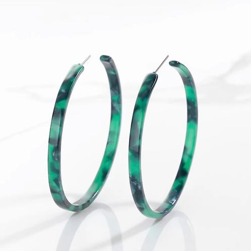 Tortoiseshell Hoop Earrings, Green