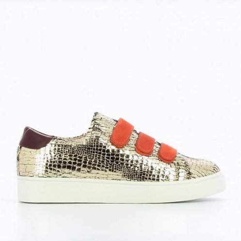 Gold Crackled Effect Sneakers / Orange