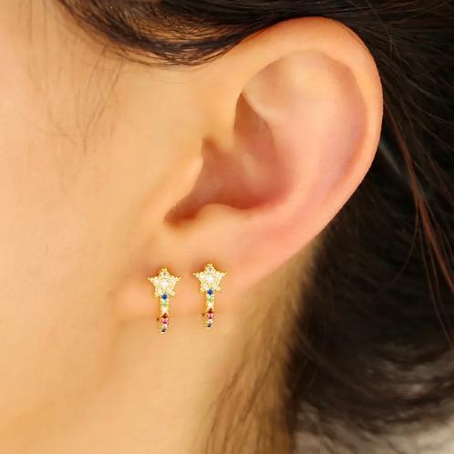 Rainbow Star Huggie Earrings