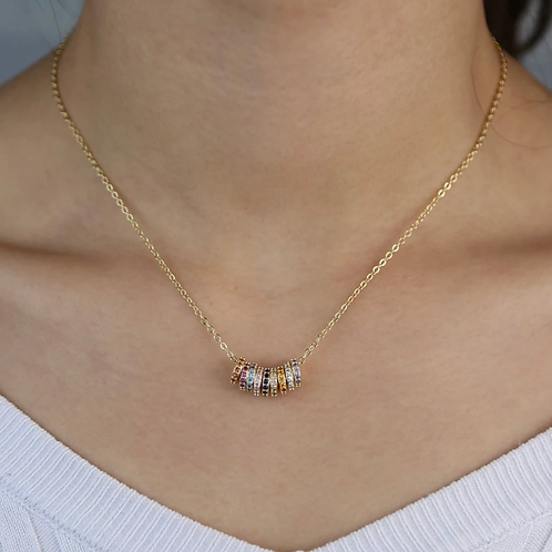 Rainbow Mini Hoop Necklace, Gold
