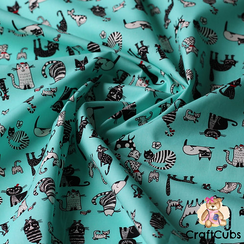 Cat Caricature Cotton Poplin Fabric in Mint