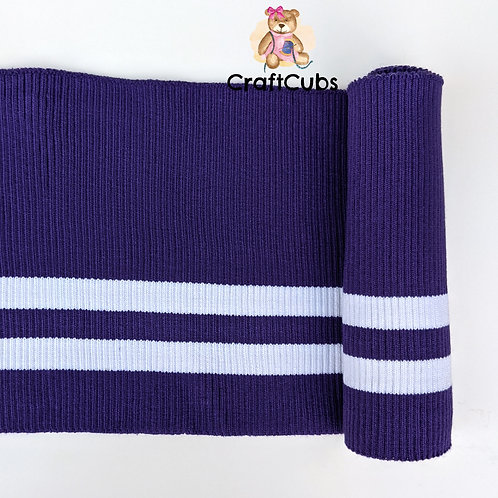Striped Cuff Ribbing in Purple and White