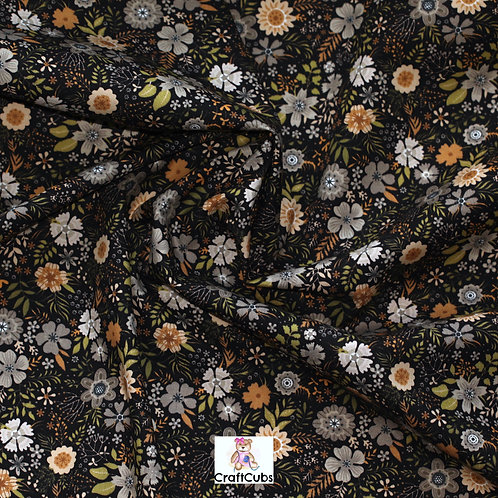 Floral Tapestry Cotton Poplin Fabric in Black