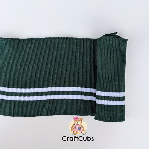 Striped Cuff Ribbing in Green and White