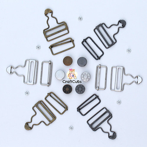 1 Set of 38mm Dungaree Clips / Overall Buckles