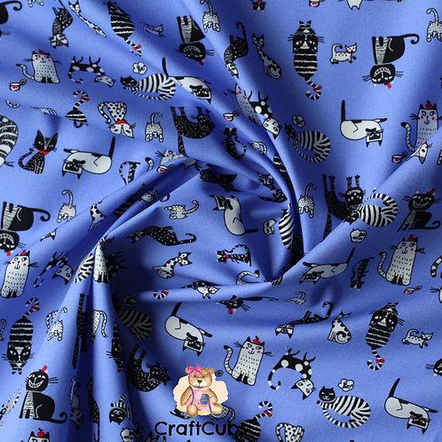 Cat Caricature Cotton Poplin Fabric in Periwinkle Blue