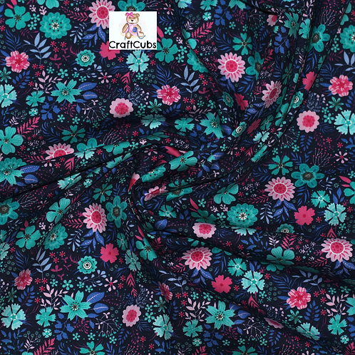 Floral Tapestry Cotton Poplin Fabric in Pink