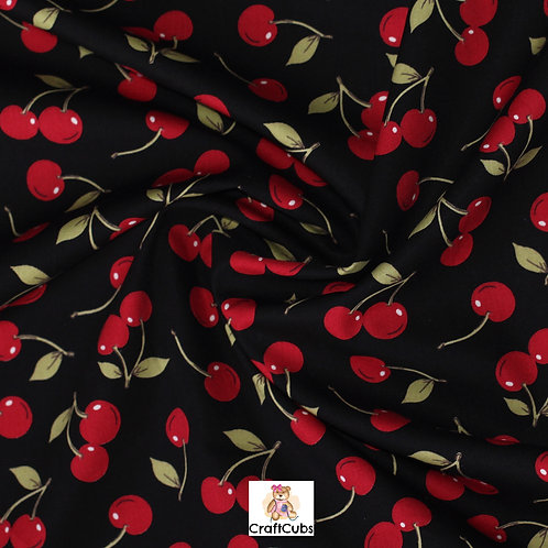 Cherry Sherry Cotton Poplin Fabric in Black