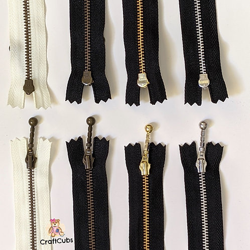 Black YKK Metal Zipper (8 inch/20cm) with Decorative Pull
