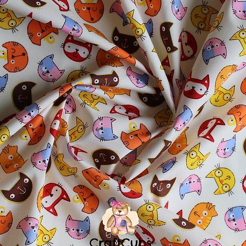 Comic Cat Cotton Poplin Fabric in Cream
