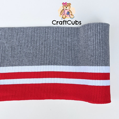 Striped Cuff Ribbing in Grey and Red