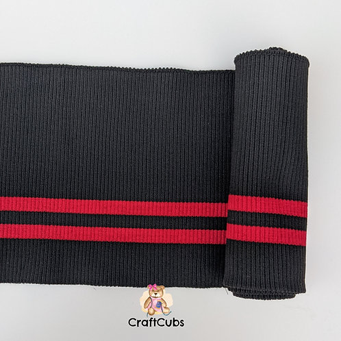 Striped Cuff Ribbing in Black and Red