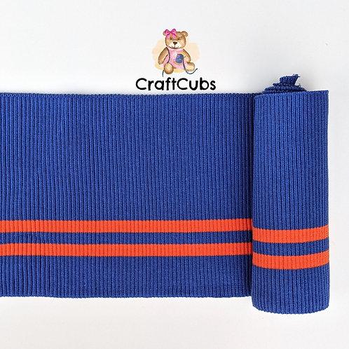 Striped Cuff Ribbing in Periwinkle and Orange