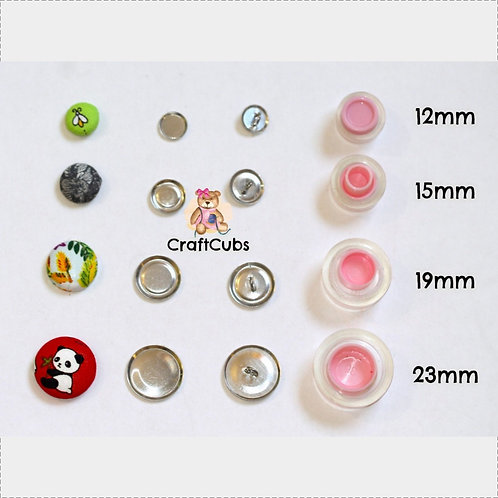Fabric Self Cover Buttons (Shank Backs) in 12mm 15mm 19mm 23mm