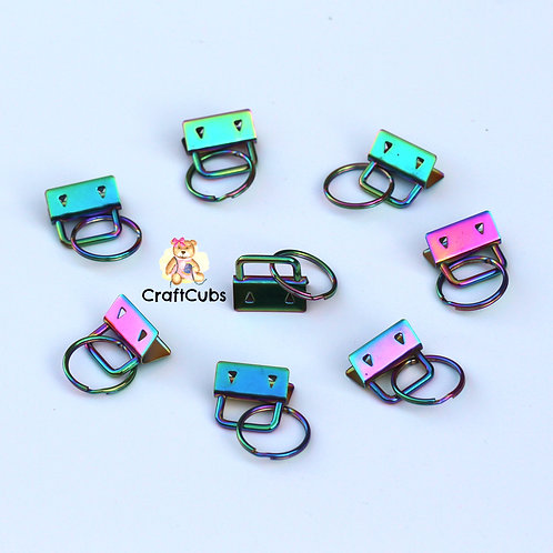 25mm Key Fob with Split Ring (1 inch) in Rainbow