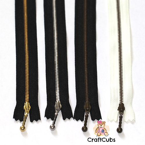 Black YKK Size 3 Metal Zipper (10 inches/25cm)