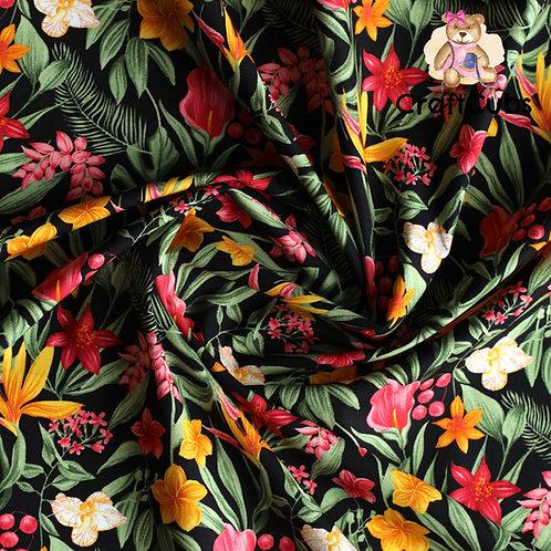 Floral Para Paradise Cotton Poplin Fabric in Black