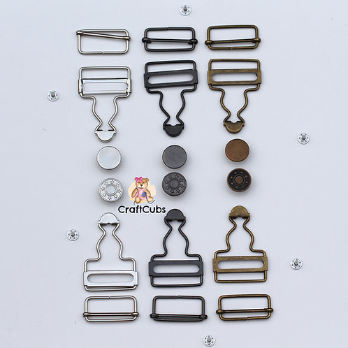 1 Set of 32mm Dungaree Clips / Overall Buckles