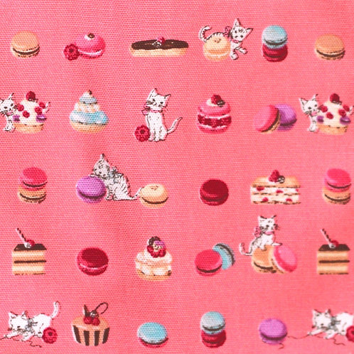 Cats with Cakes Cotton Fabric (Pink)