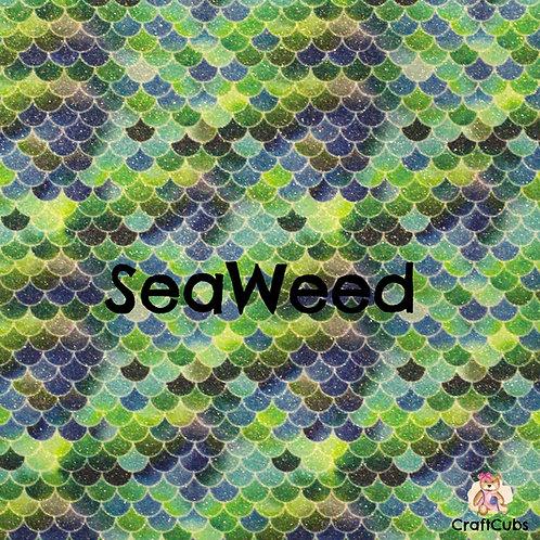 Glitter Mermaid Vinyl Fabric in SeaWeed