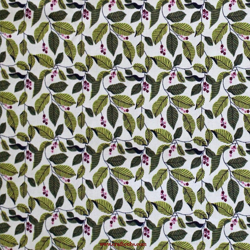 Autumn Leaves Cotton Fabric (Green)