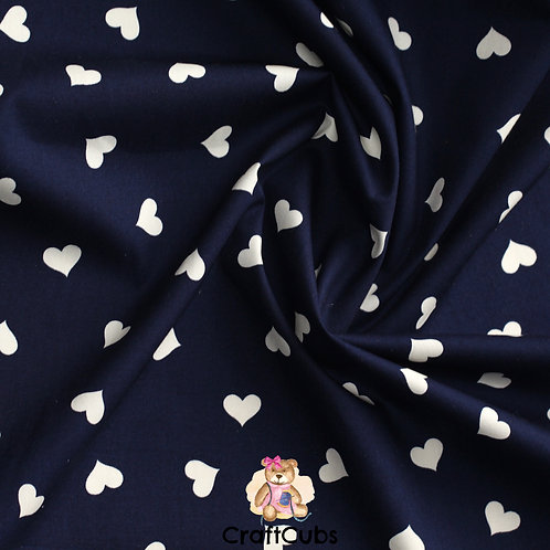 Candy Hearts Cotton Poplin Fabric in Navy