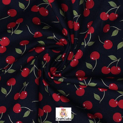 Cherry Sherry Cotton Poplin Fabric in Navy