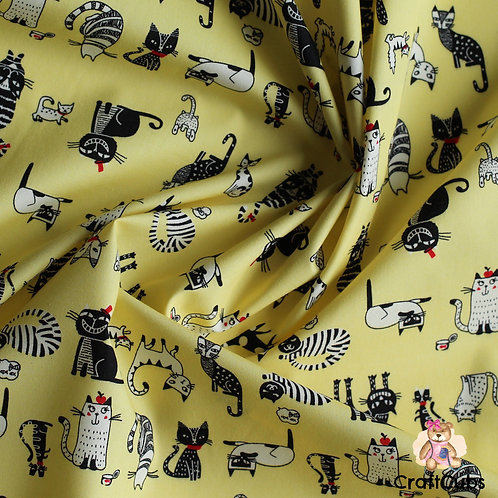 Cat Caricature Cotton Poplin Fabric in Yellow