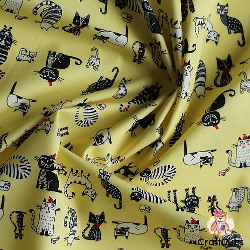 Cat Caricature Cotton Poplin Fabric in Yellow