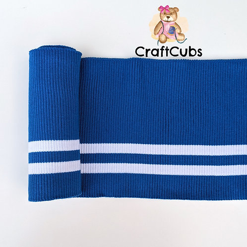 Striped Cuff Ribbing in Blue and White
