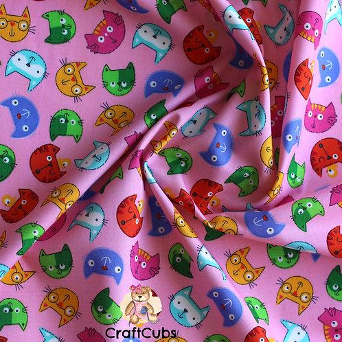 Comic Cat Cotton Poplin Fabric in Pink