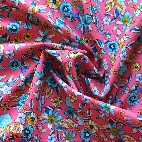 Leilani Florals Cotton Poplin Fabric in Pink
