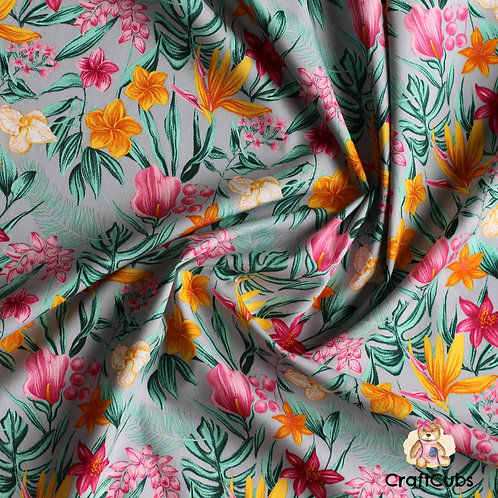 Floral Para Paradise Cotton Poplin Fabric in Grey