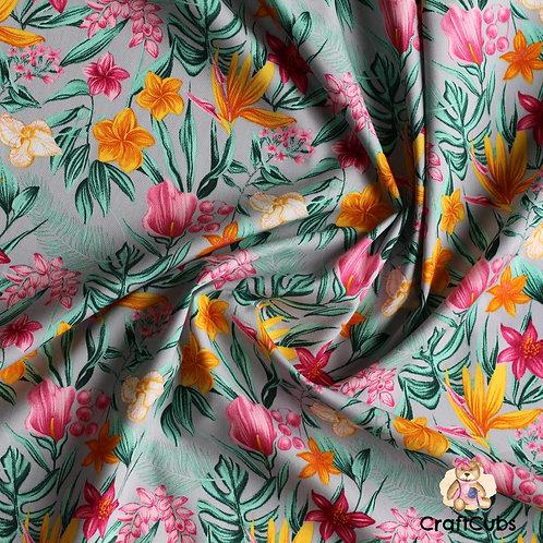 Floral Para Paradise Cotton Poplin Fabric in Grey