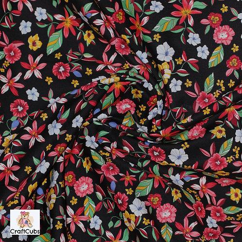 Leilani Florals Cotton Poplin Fabric in Black