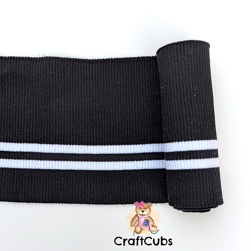 Striped Cuff Ribbing in Black and White