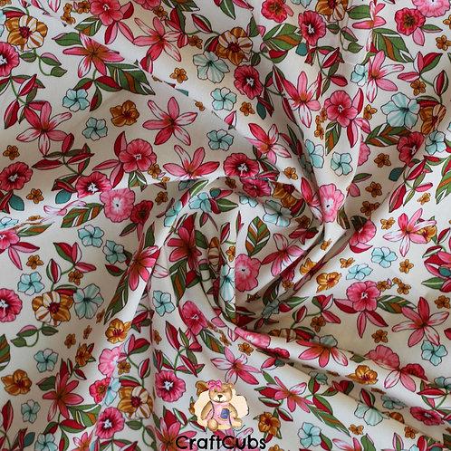 Leilani Florals Cotton Poplin Fabric in Cream