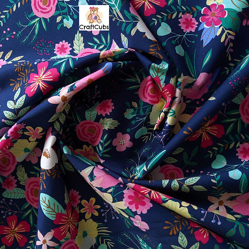 Once and Floral Cotton Poplin Fabric in Navy