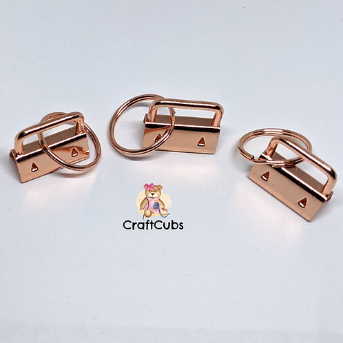 25mm Key Fob with Split Ring (1 inch) in Rose Gold