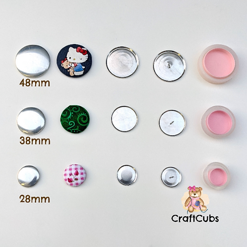 Fabric Self Cover Buttons (Shank Backs) in 28mm 38mm 48mm