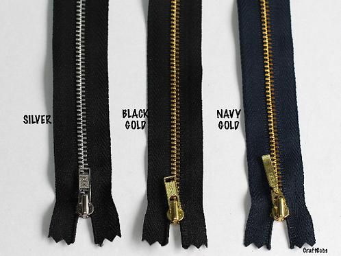 Black YKK Size 3 Metal Zipper (12inches/30cm)