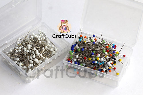 Glass Head Sewing Pins Box of 250