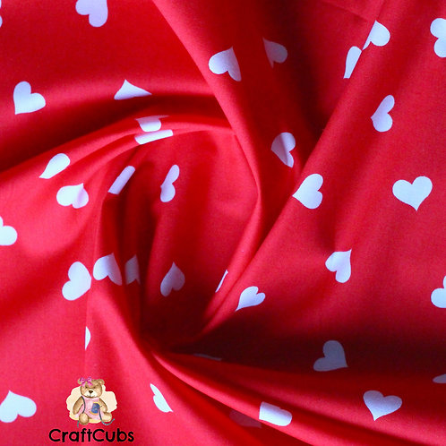 Candy Hearts Cotton Poplin Fabric in Red